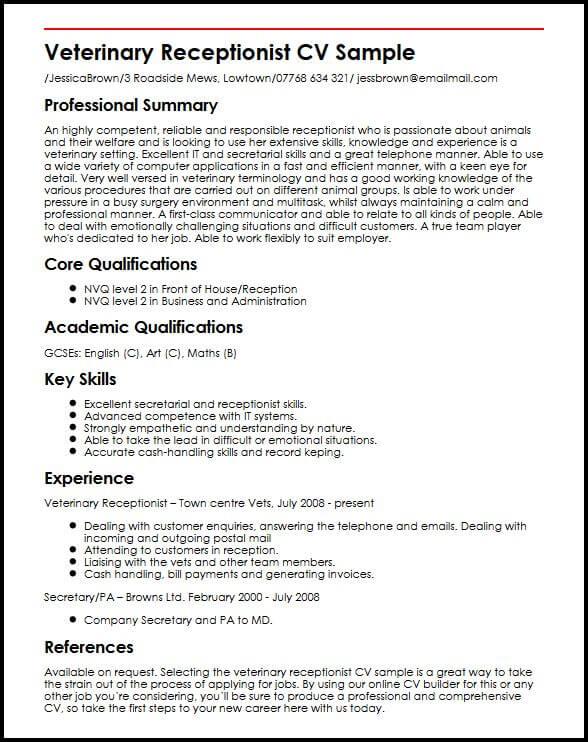 veterinary receptionist job description