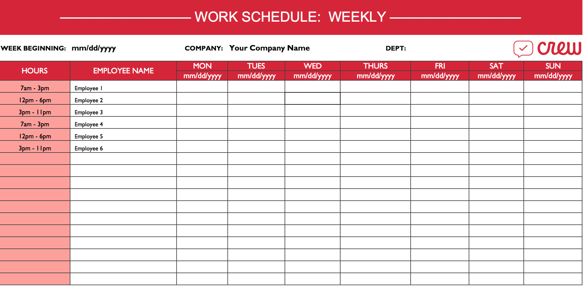 Work Schedule Template Mt Home Arts