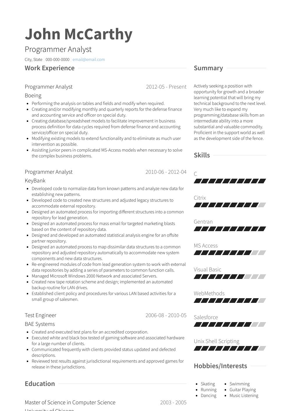 analyst programmer resume