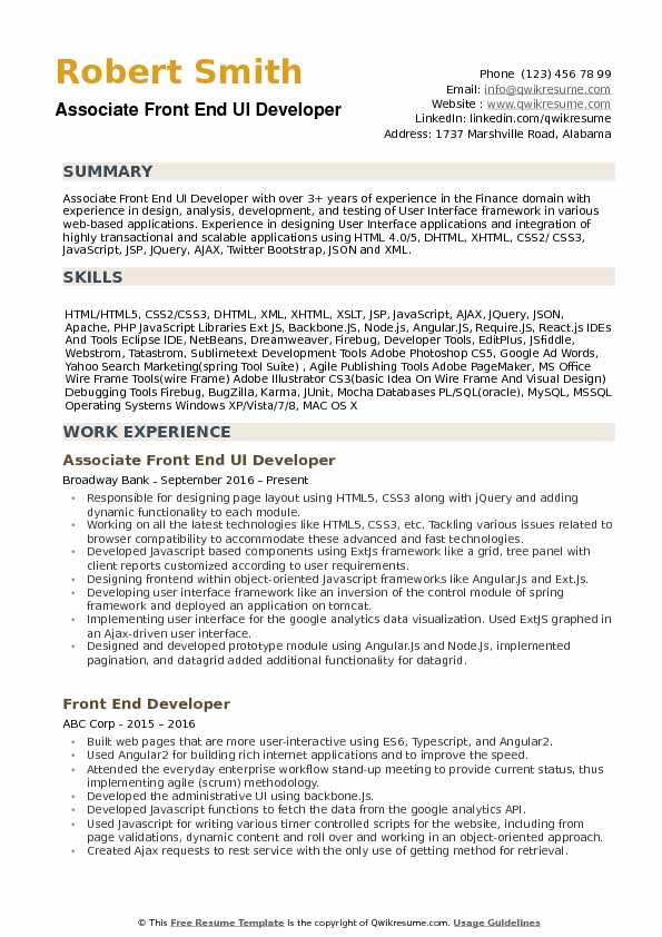 Framework Resume Template