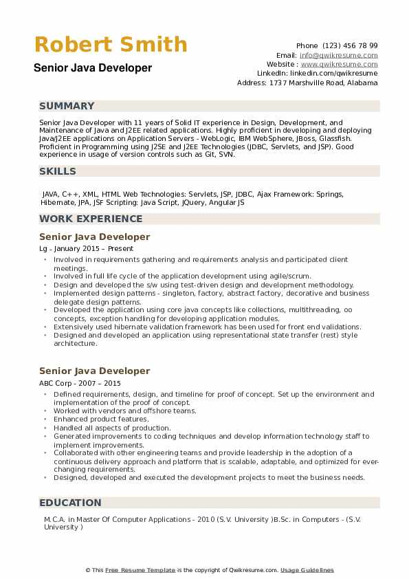 framework resume template