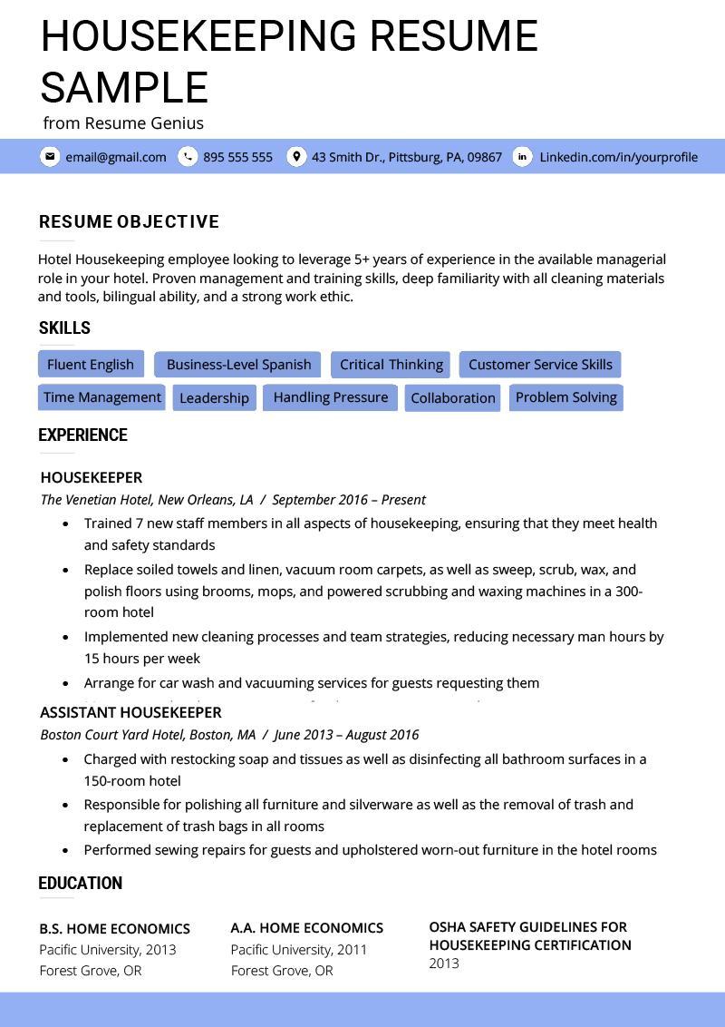 housekeeping resume template