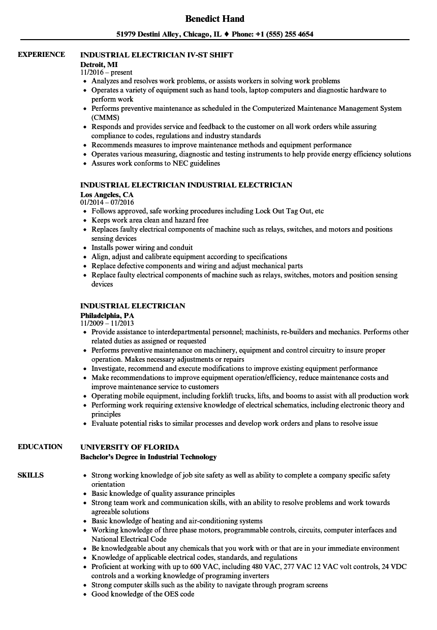 industrial electrician resume