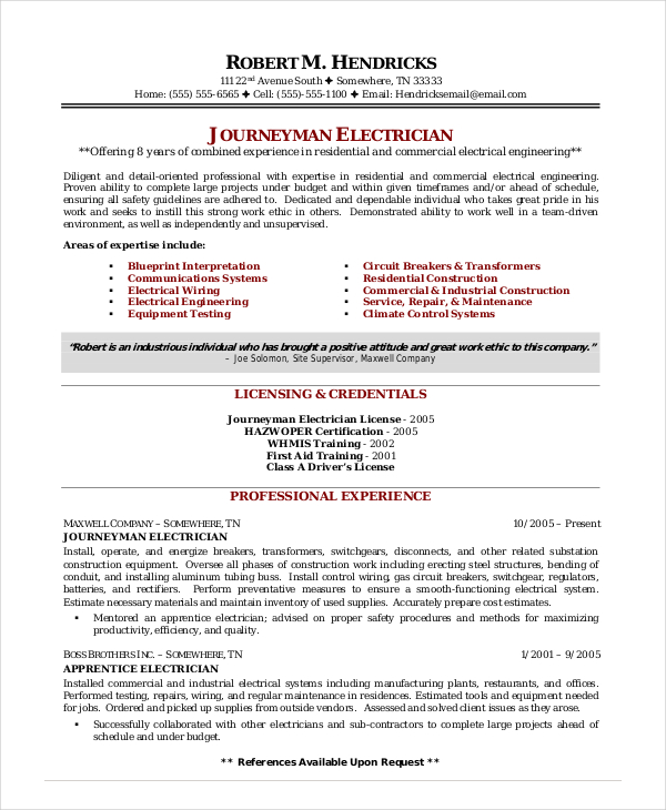Industrial Electrician Resume | | Mt Home Arts
