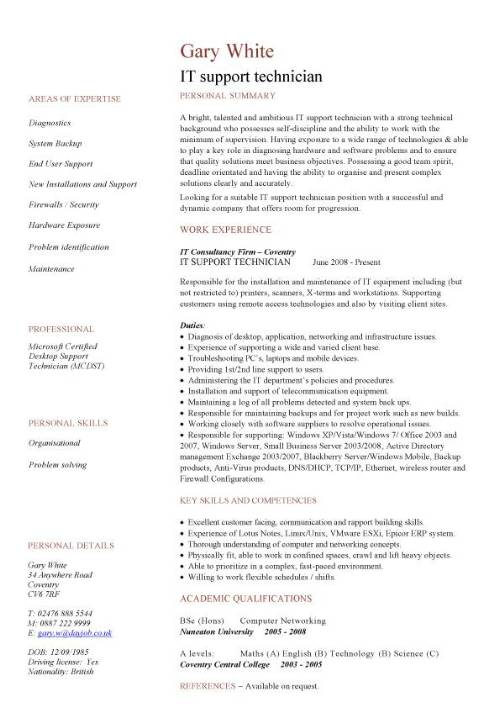 It Technician Resume Mt Home Arts