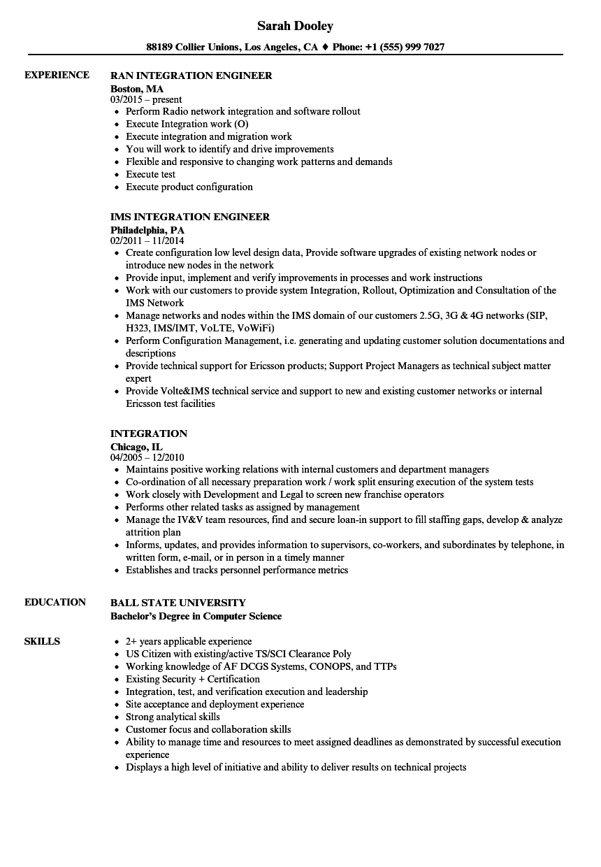 web integrator technician resume