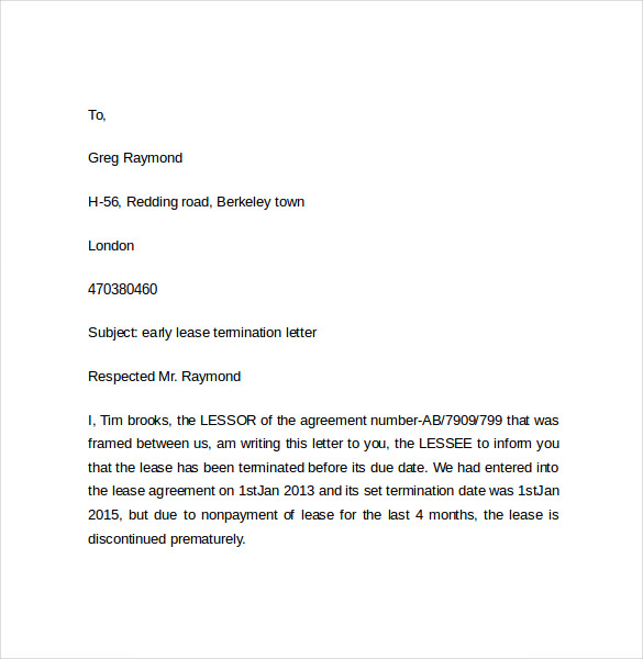 Sample Apartment Lease Termination Letter from mthomearts.com