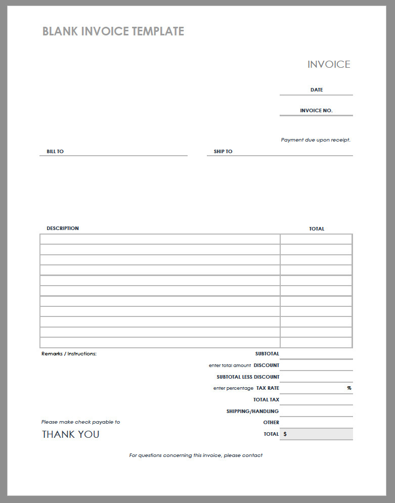Blank Invoice Template | | Mt Home Arts