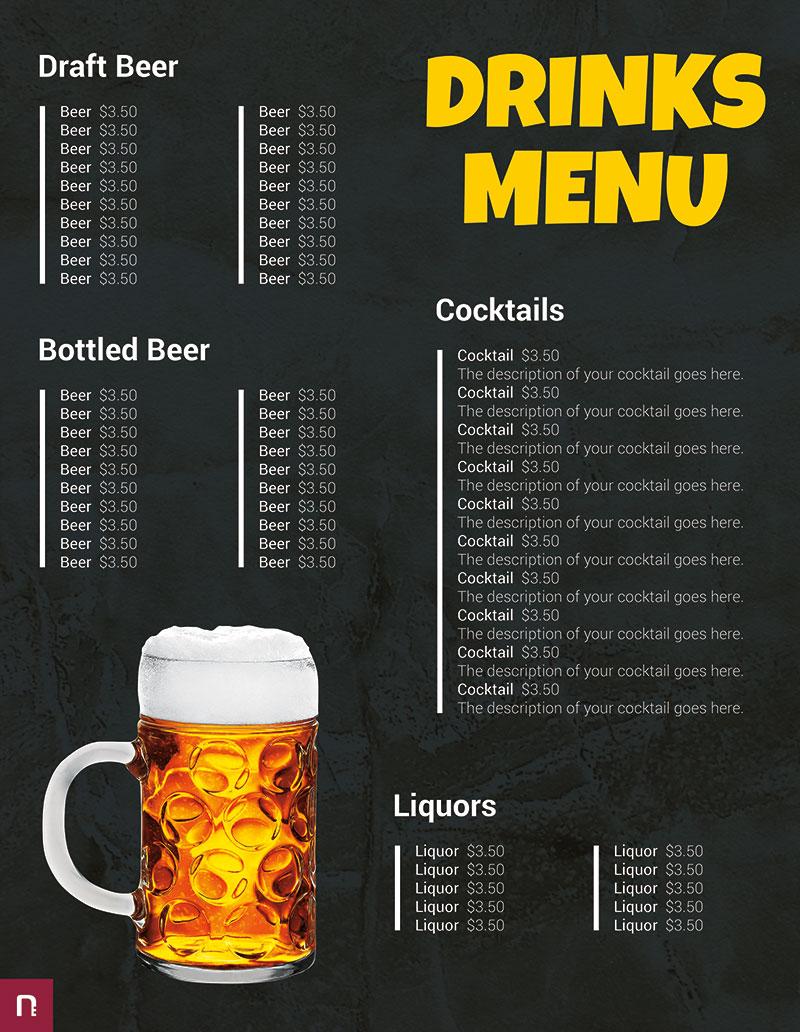 drink menu templates