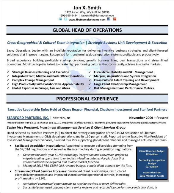 Executive Resume Template Word Mt Home Arts