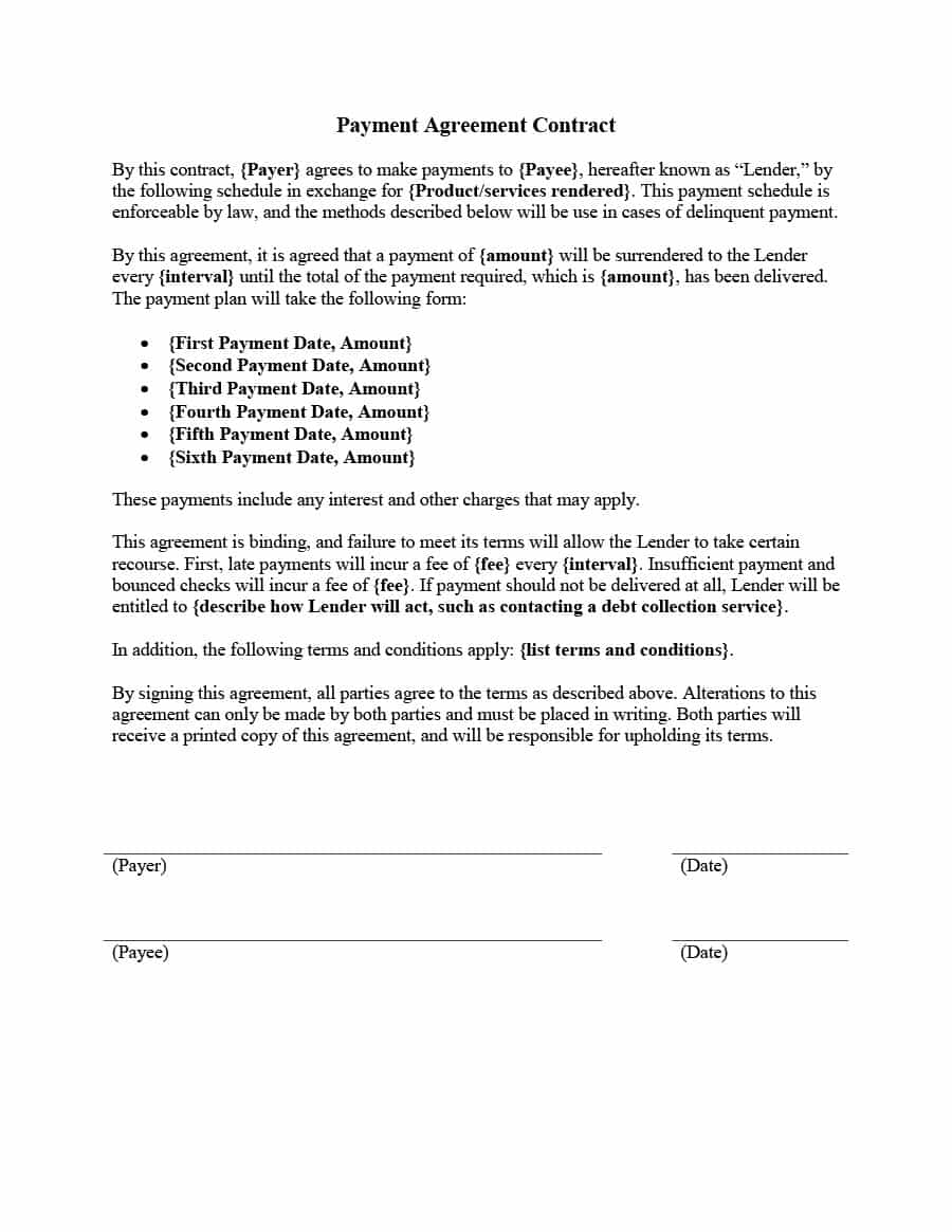 payment-plan-contract-payment-agreement-template-04 Job Application Form For Beautician on dentist job application, social worker job application, plumber job application, pastry chef job application, lawyer job application, mechanic job application,