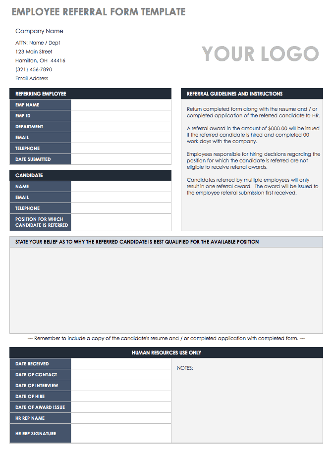 sales referral form template