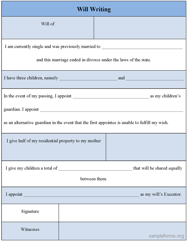 will writing template