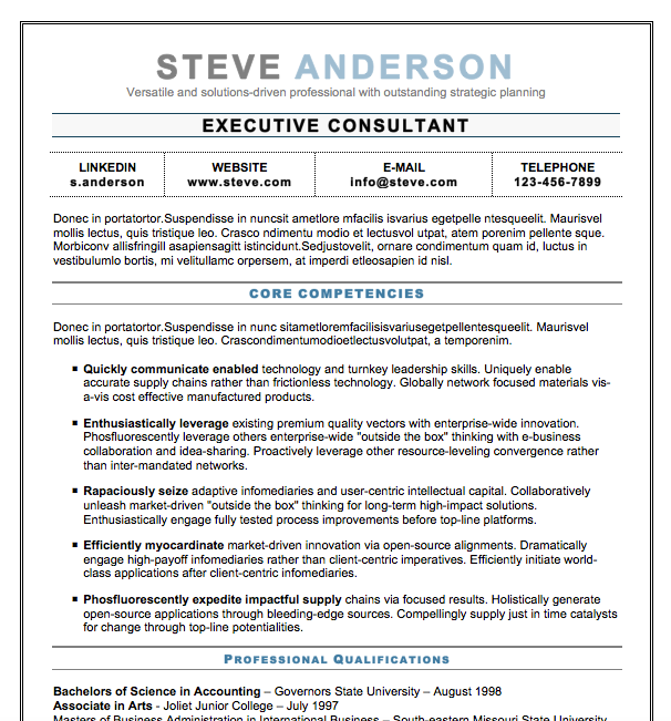 executive resume template word