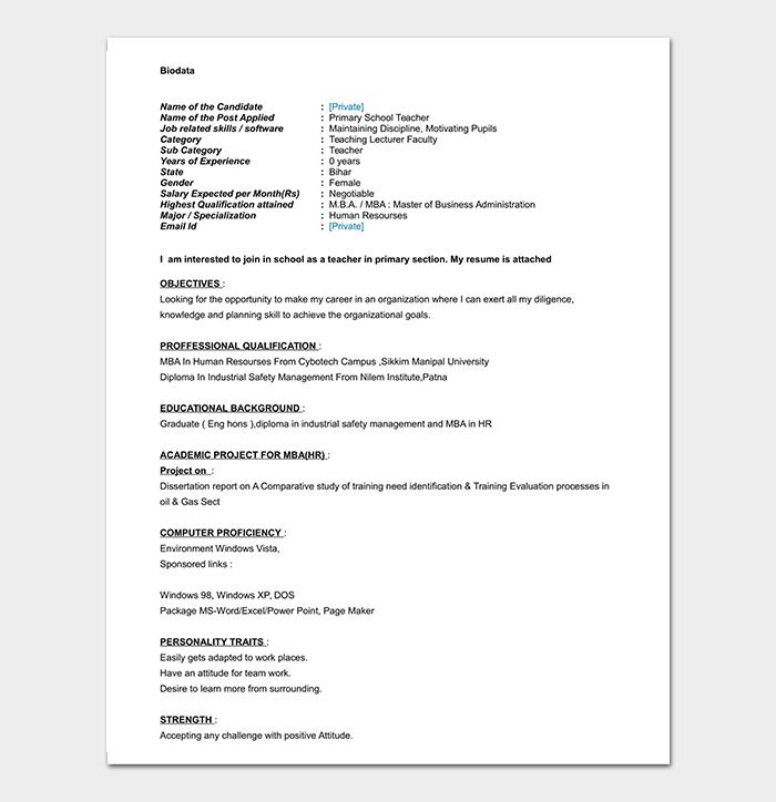 primary teacher fresher resume