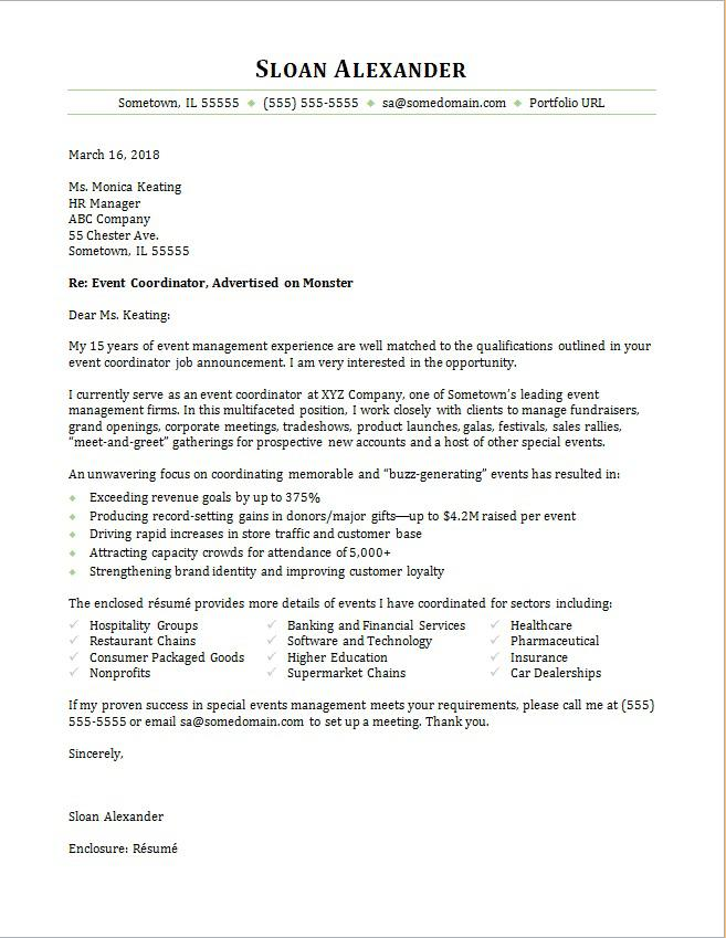 Event Coordinator Cover Letter   Mt Home Arts
